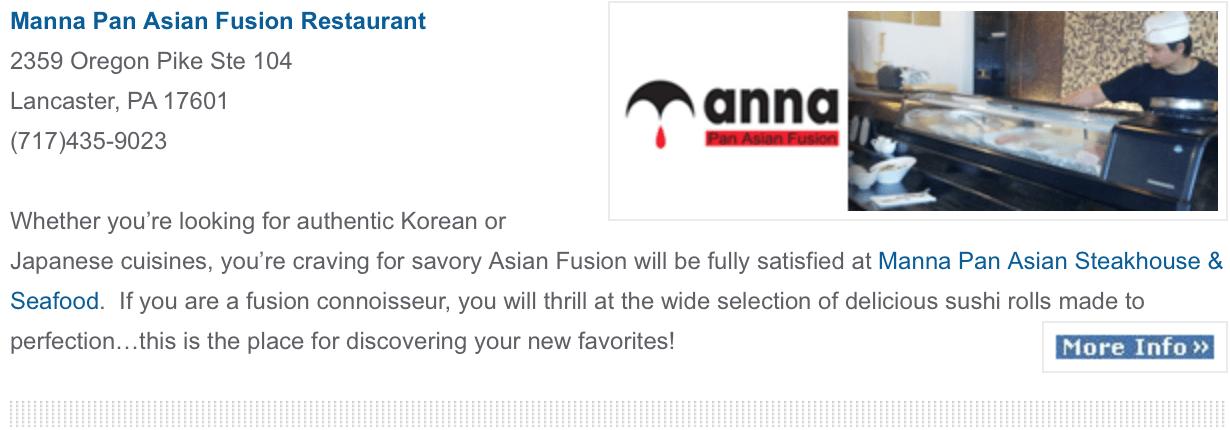 Manna Pan Asian Fusion
