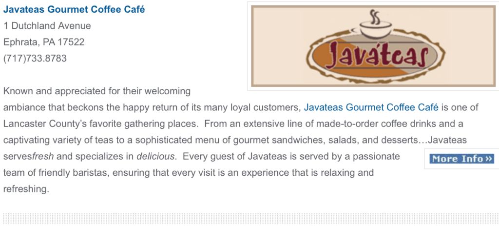 Javateas Gourmet Coffee cafe ephrata pa