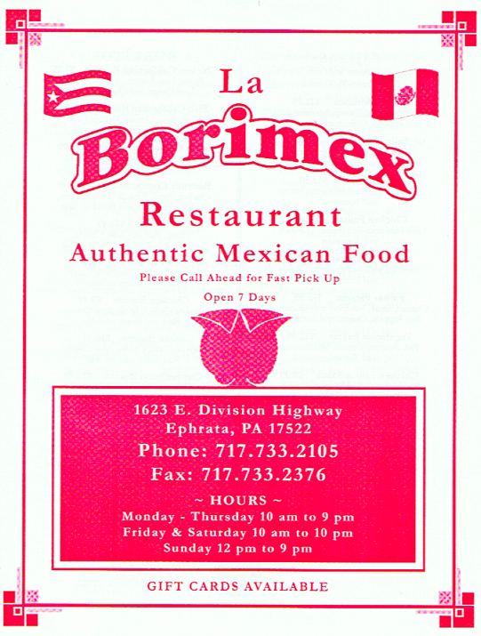 LaBorimex Mexican Restaurant menu