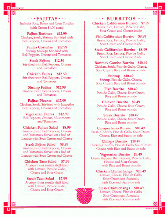 LaBorimex Authentic Mexican Restaurant Menu 3