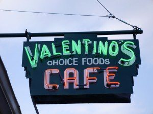 Valentino's Cafe lancaster pa sign