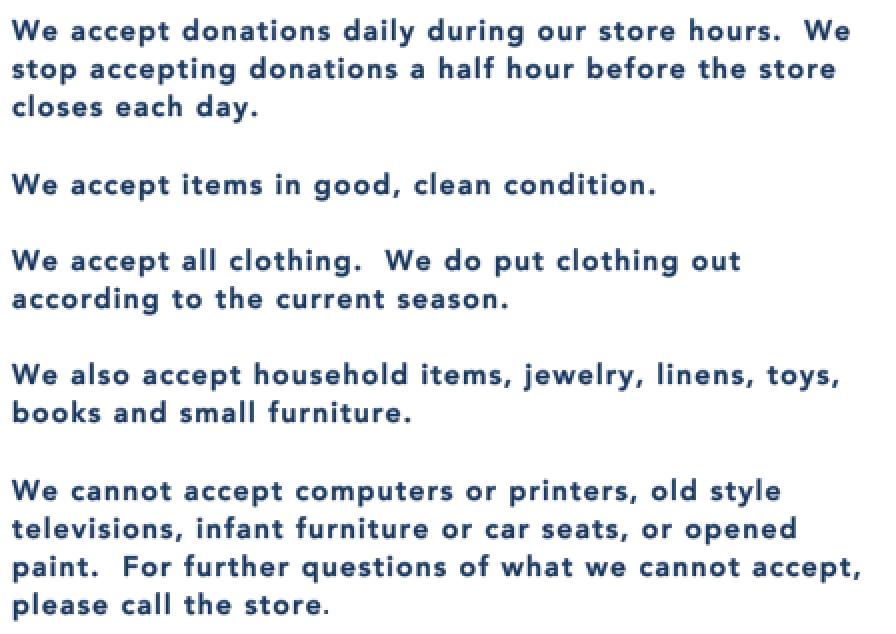 New Hope Community Closet Thrift donations