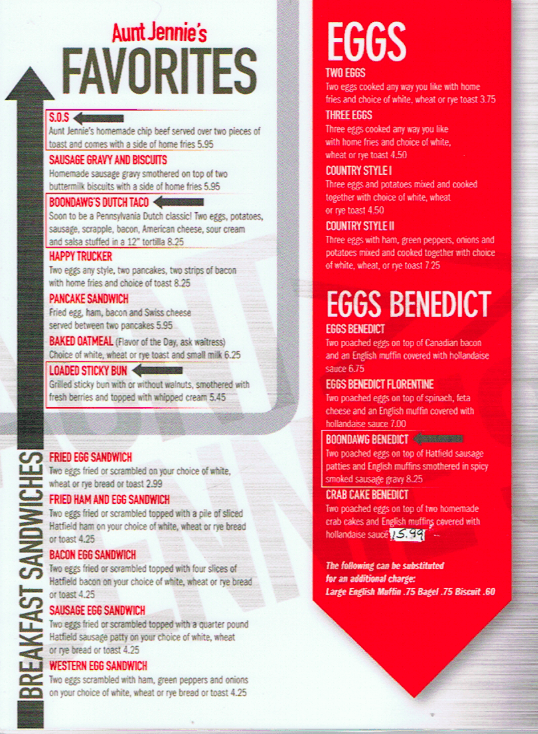 Aunt Jennie's 41 Diner breakfast menu 2