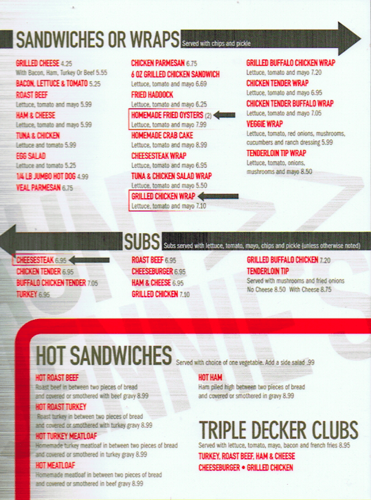 Jennies Diner 41 lunch dinner menu 6