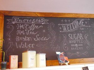 Sugar Whipped Bakery menu board