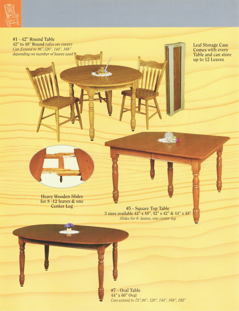 Hornings Chair Shop Ephrata PA Custom Built Furniture Brochure 2