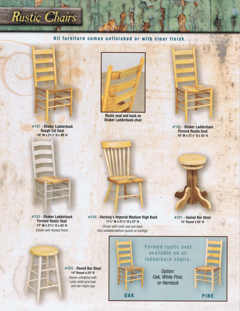 Horning's Chair Shop Rustic Furniture Brochure 2