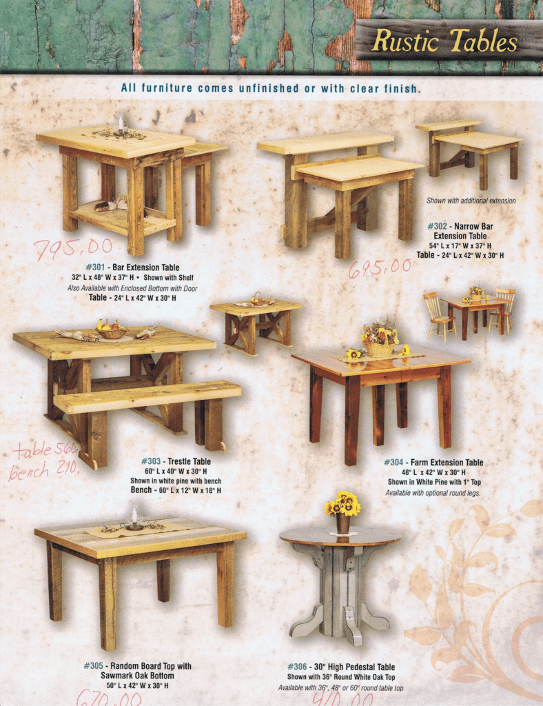 Horning's Chair Shop Rustic Furniture Brochure 3