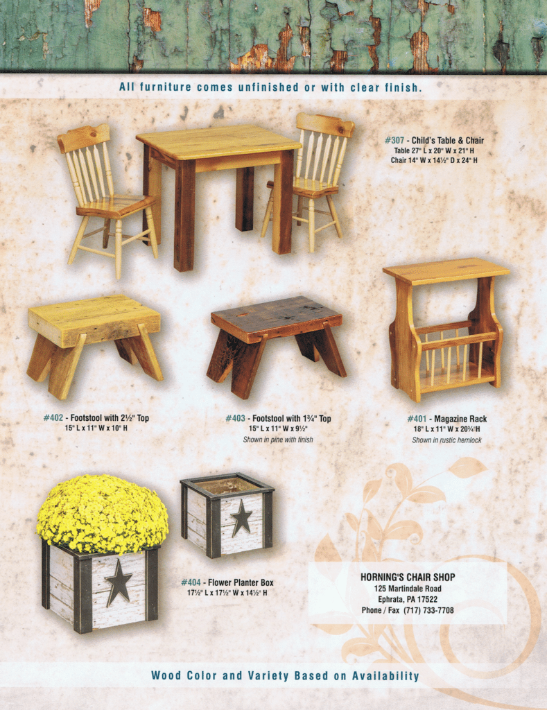 Horning's Chair Shop Rustic Furniture Brochure 4