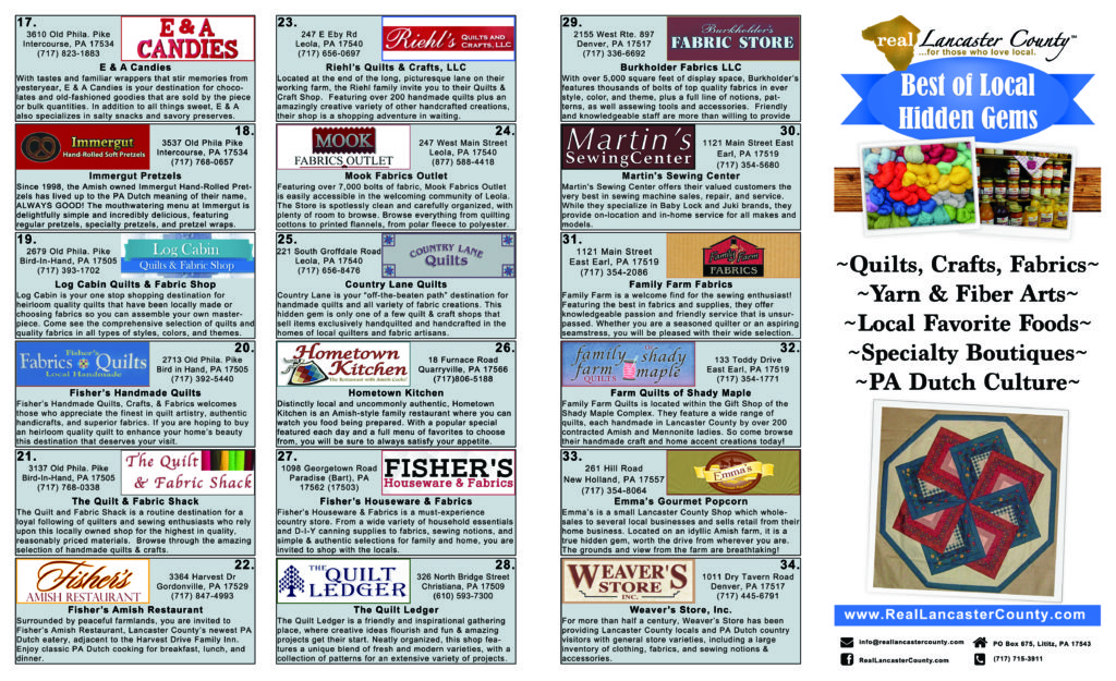 2017 Quilt Week in Lancaster County PA…Visit local hidden gems for shopping & eats!