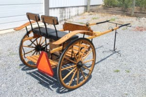 """#536 Pony Size Meadowbrook Cart- Used for 10 Hand Pony- Wooden Wheels- 30"""" Wheels- 54"""" Shaft- Like New Condition $995.00 A"""