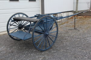 """#555 Horse Size Training Cart Painted Blue 42"""" Wheels 100"""" Shaft Solid Condition $495.00"""