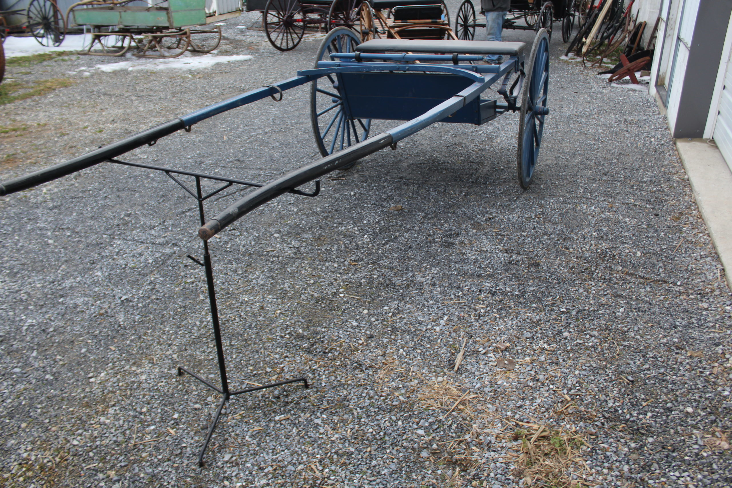 "#555 Horse Size Training Cart Painted Blue 42"" Wheels 100"" Shaft Solid Condition $495.00"
