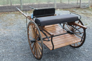 """#552 Horse Size Breaking Cart Natural Finish 36' Wheels 82"""" shaft Good condition #750.00"""