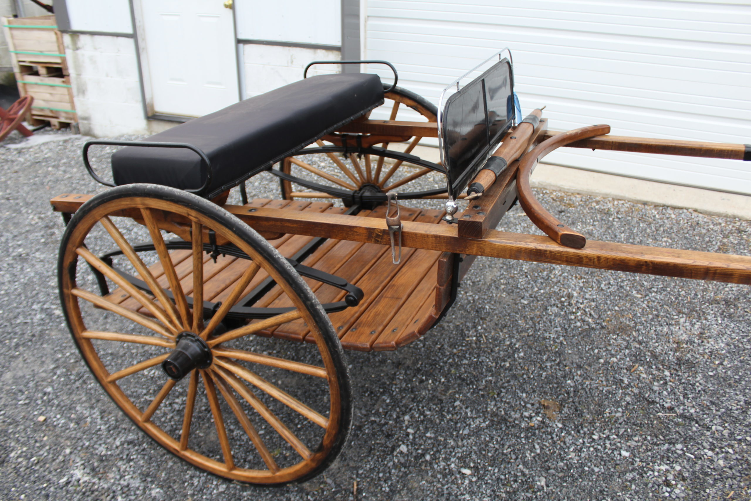 "#552 Horse Size Breaking Cart Natural Finish 36' Wheels 82"" shaft Good condition #750.00"