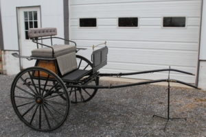 """#553 Pony Size Gig Painted Dark Green Tan Tufted Cushions Silver Pin Stripes 40"""" Wheels 67"""" Shaft $1450.00"""