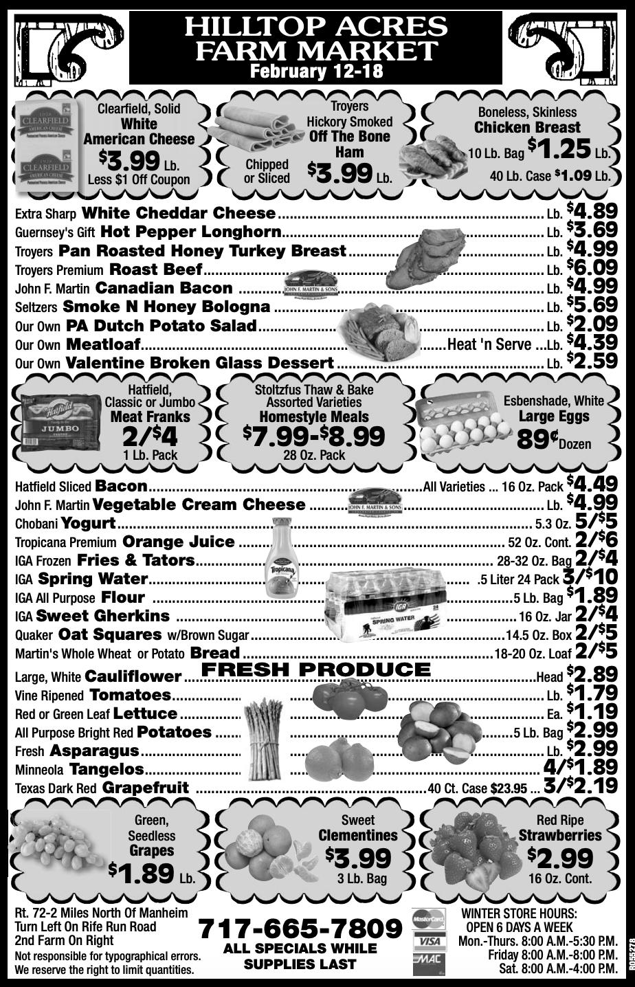 Hilltop Acres Farm Market Ad