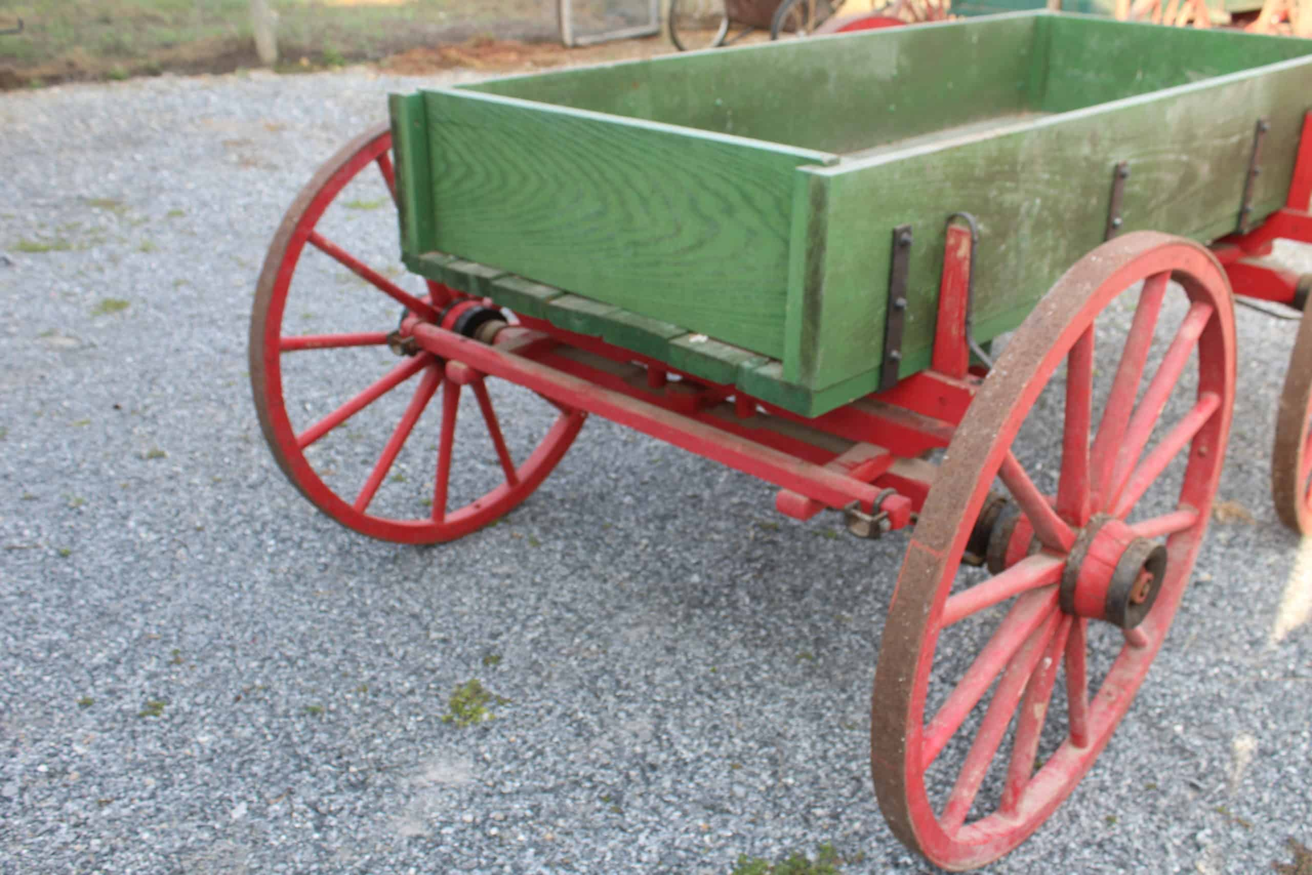 "#600 1-Horse Farm Wagon, Red Wheels, Green Body, Bed Size 40"" Wide x 8' Long, Good Condition, No Shaft, $700.00"
